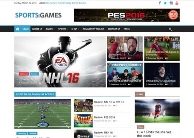 Sports and Games WordPress Website